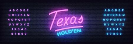 Texas holdem neon sign. Glowing lettering template for poker club.
