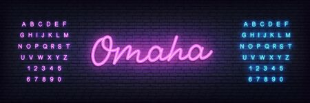 Omaha poker neon sign. Glowing lettering template for poker club. 스톡 콘텐츠