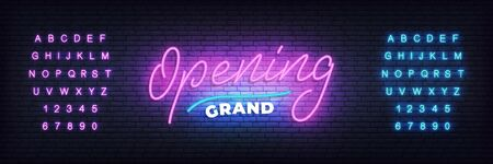 Grand opening neon template. Neon lettering banner Grand opening for event, sale, promotion.