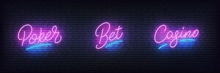 Casino neon set. Glowing lettering sign Poker, Bet, Casino for gambling business.