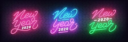 New Year 2020 neon. Set of glowing neon holiday New Year lettering labels.