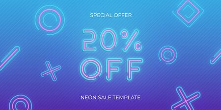 Sale banner neon template. Neon sale discount offer.