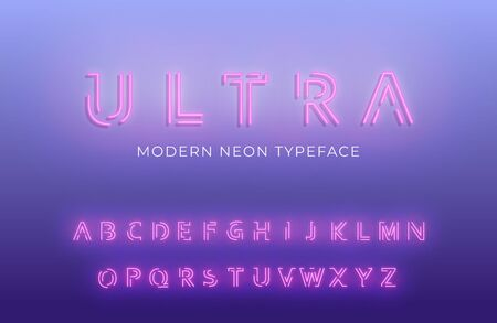 Neon light alphabet. Glowing modern futuristic font typeface.