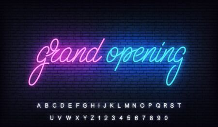 Grand opening. Neon glowing lettering billboard sign for opening ceremony.