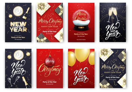 Christmas and New Year cards. Merry Xmas holiday poster design layout templates. Vektorgrafik