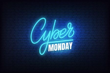 Cyber Monday sale neon. Glowing lettering sign for online discount promotion.