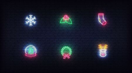 Christmas neon icons. Vector glowing neon colorful symbols for Xmas and New Year.