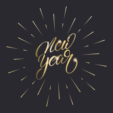 New Year. Gold Lettering calligraphy for New Year celebration. Ilustração