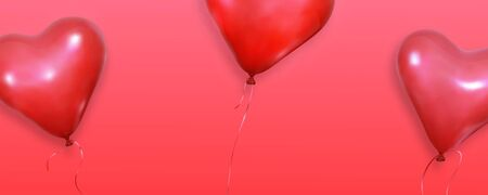 Valentines background. Realistic heart balloons flying on red background. Valentines Day banner. Illustration