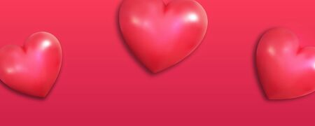 Valentines background. Realistic hearts on red background. Valentines Day banner. Illustration
