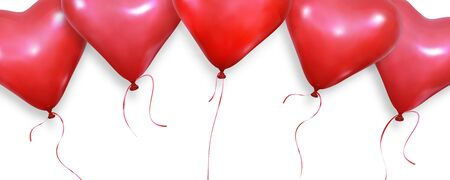 Valentines background. Realistic heart balloons flying on white background. Valentines Day banner.