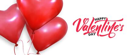 Valentines banner. Realistic heart balloons flying on white background. Valentines Day card.
