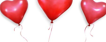 Valentines Day background. Realistic heart balloons flying on white background. Valentines banner.