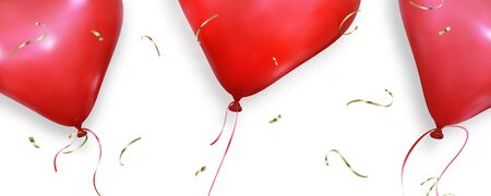 Valentines Day background. Realistic heart balloons flying on white wallpaper. Valentines Day banner. Illustration