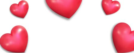 Valentines Day banner. Realistic hearts on white background. Valentines Day wallpaper. Illustration