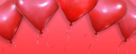 Valentines Day background. Realistic heart balloons flying on red background. Valentines banner. Illustration