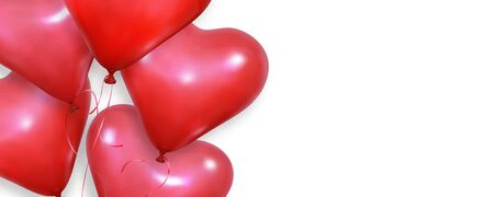 Valentines wallpaper. Realistic heart balloons flying on white background. Valentines Day banner.