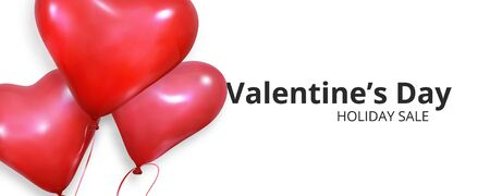 Valentines sale banner. Realistic heart balloons flying on white background. Valentines Day banner.