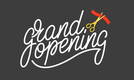 Grand opening. Lettering badge design for opening ceremony, marketing.