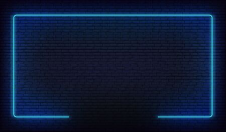 Neon border frame. Blue neon glowing background.
