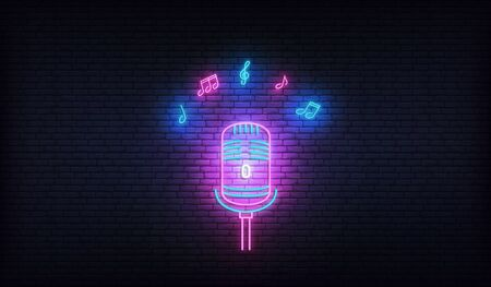 Microphone with music notes. Neon template for karaoke, live music, talent show.
