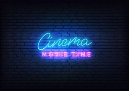 Cinema neon. Glowing letteing Cinema movie time label.  イラスト・ベクター素材