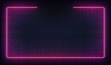 Neon frame border. Purple neon glowing background.