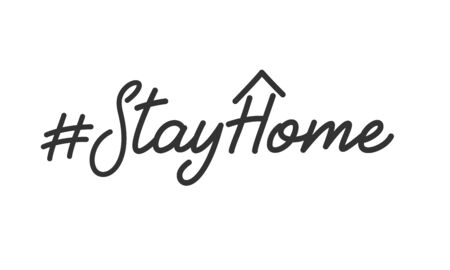 Stay home slogan. Lettering stay home text for campaign from coronavirus, COVID-19.