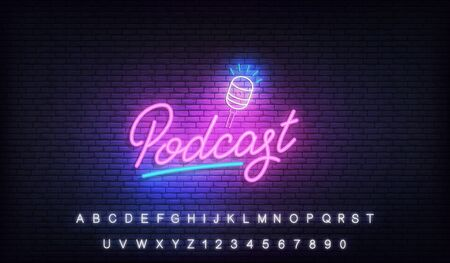 Podcast neon. Glowing podcast lettering sign template.