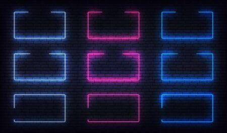 Neon frame border set. Blue, purple, white neon glowing background frames. Ilustração