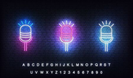 Microphone neon. Set of glowing neon microphones for podcast, stand up, comedy show.