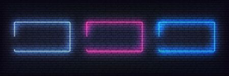 Border neon frame set. Blue, purple, white neon glowing background frames.