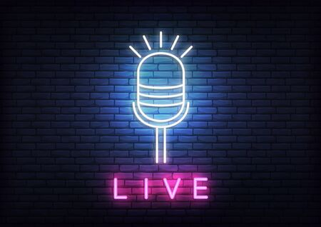 Live neon template. Template with glowing live text and microphone. Illustration