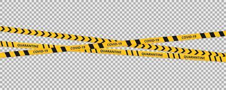 Quarantine coronavirus tape border background. Warning coronavirus quarantine yellow and black stripes