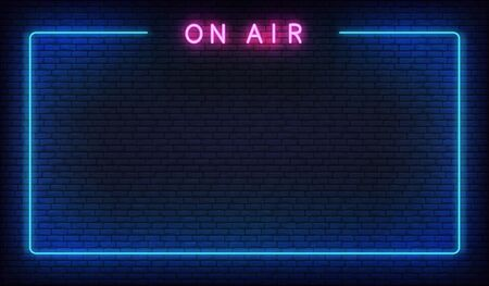 On air neon background. Template with glowing on air text and border. Illustration