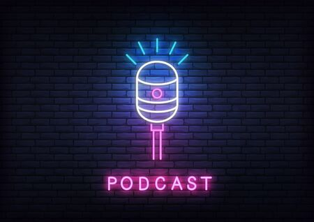 Podcast neon. Template with glowing podcast text and microphone.
