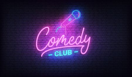 Comedy night neon template. Comedy lettering and glowing neon microphone. Illustration