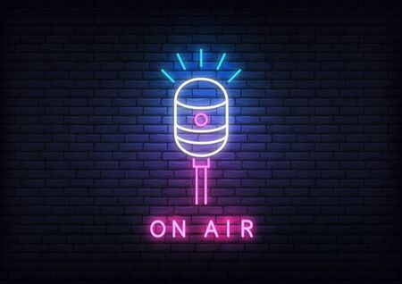 On air neon template. Template with glowing on air text and microphone.
