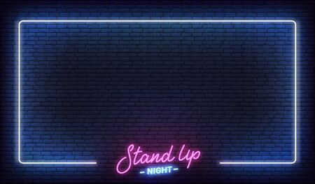 Stand up comedy show neon template. Stand up lettering and glowing neon border frame.