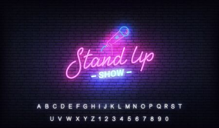 Stand up comedy show neon template. Stand up lettering and glowing neon microphone.
