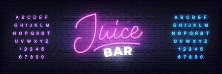 Juice bar neon template. Glowing Juice lettering sign. Reklamní fotografie
