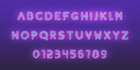 Neon font alphabet. Glowing neon colored 3d modern alphabet and numbers characters typeface. Reklamní fotografie
