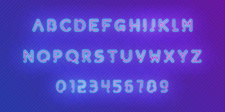 Neon alphabet font. Glowing neon colored 3d modern alphabet and numbers characters typeface.