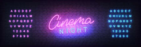 Cinema neon template. Glowing letteing Cinema night label. Reklamní fotografie