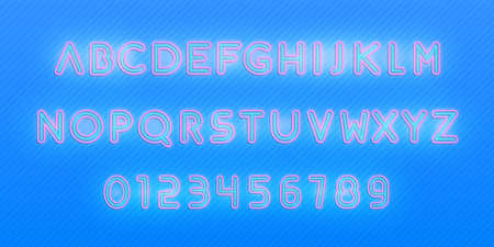 Alphabet neon font. Glowing neon colored 3d modern alphabet and numbers characters typeface.