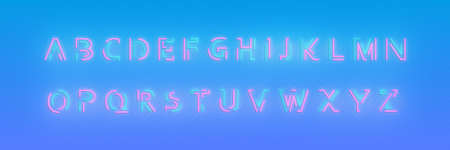 Alphabet neon font. Glowing neon colored 3d modern alphabet typeface.