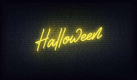 Halloween neon sign. Halloween vector holiday design.