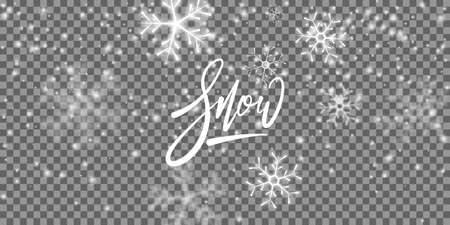 Snow background. Winter Christmas snowy transparent overlay.