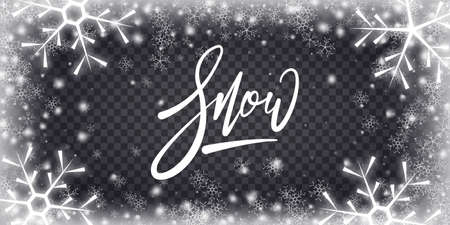 Frozen snow background. Christmas snowy transparent overlay.