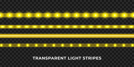 Yellow LED strips set. Colorful glowing illuminated tape decoration. Realistic neon lights.